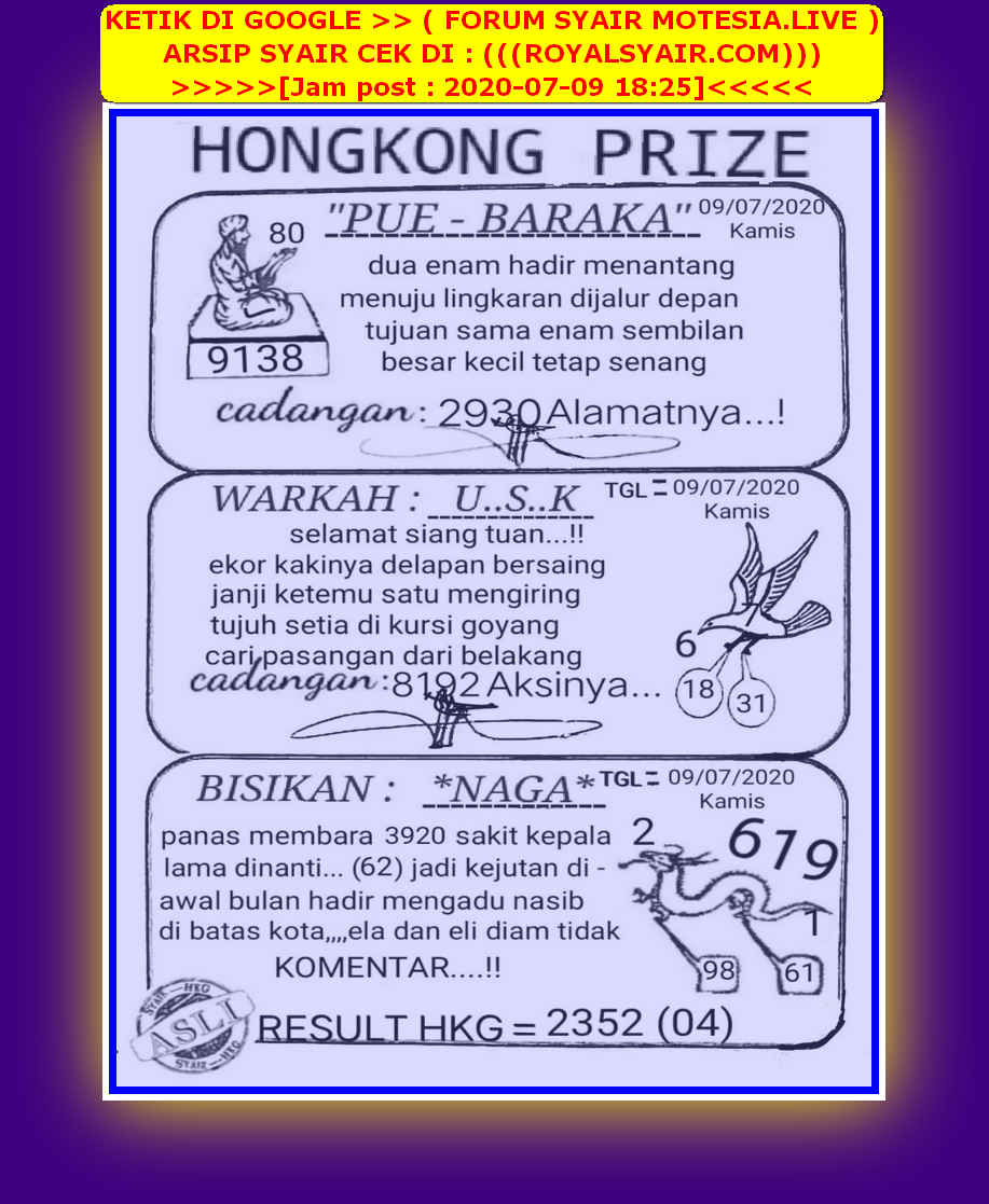 Kode syair Hongkong Kamis 9 Juli 2020 42