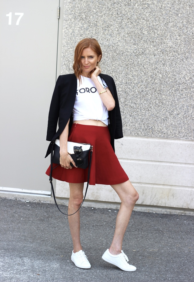 Keds Ace Leather White White, Tuck Shop Trading Co Toronto t-shirt, red flare mini skirt, Poppy & Peonies crossbody, Le Chateau black collarless blazer, summer to fall essentials, EGPR
