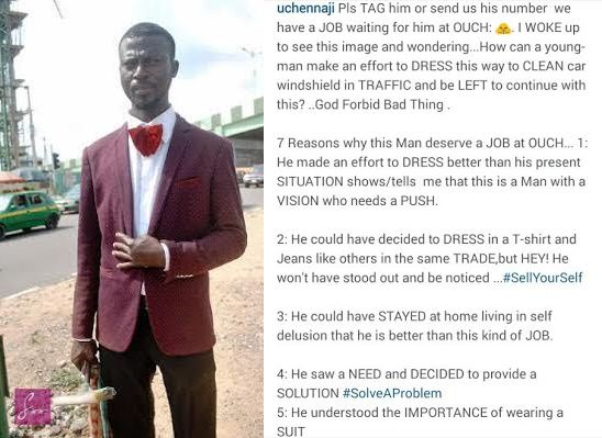 Windscreen Cleaner On Suit Has Been Offered A Job By A Nigerian Fashion Designer