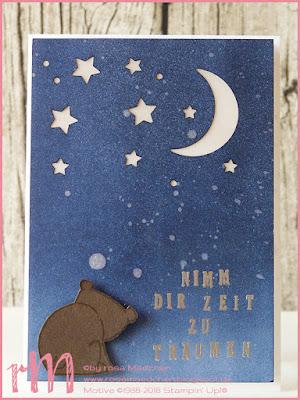 Stampin' Up! rosa Mädchen Kulmbach: LED Karte mit Tierische Glückwünsche, Pick a pennant und Mond und Sterne