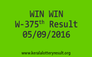 WIN WIN Lottery W 375 Results 5-9-2016