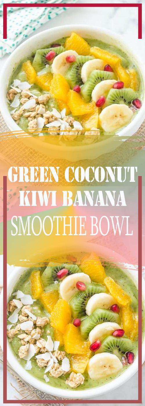 GREEN COCONUT KIWI BANANA SMOOTHIE BOWL RECIPE