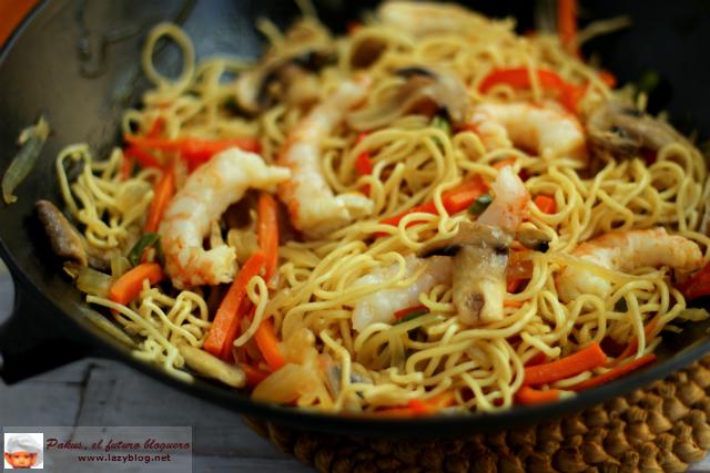 Lazy Blog Noodles De Verduras Y Gambas Receta Para El Wok
