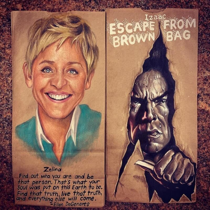 14-Ellen-DeGeneres-and-Clint-Eastwood-L-Jinks-Brown-Bag-Art-Father-and-Drawings-for-Children-www-designstack-co