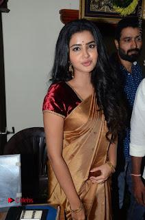 Actress Anupama Parameswaran Stills in Silk Saree with Shatamanam Bhavati Team at Sandhya Theater  0032.JPG