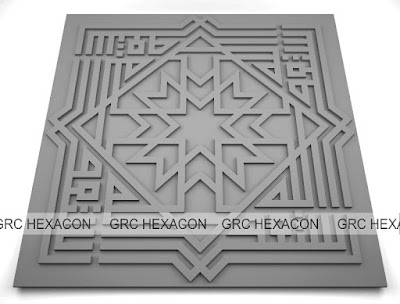 Ornamen GRC relief motif kaligrafi kufi