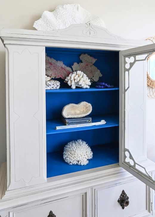 Vintage Cabinet Inside Painted Blue with Coral Collection Coastal Decor Idea