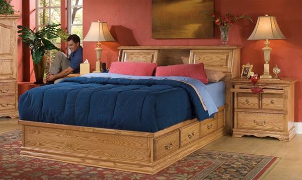 Furnitur kayu tempat tidur terbaik minimalis berlampu
