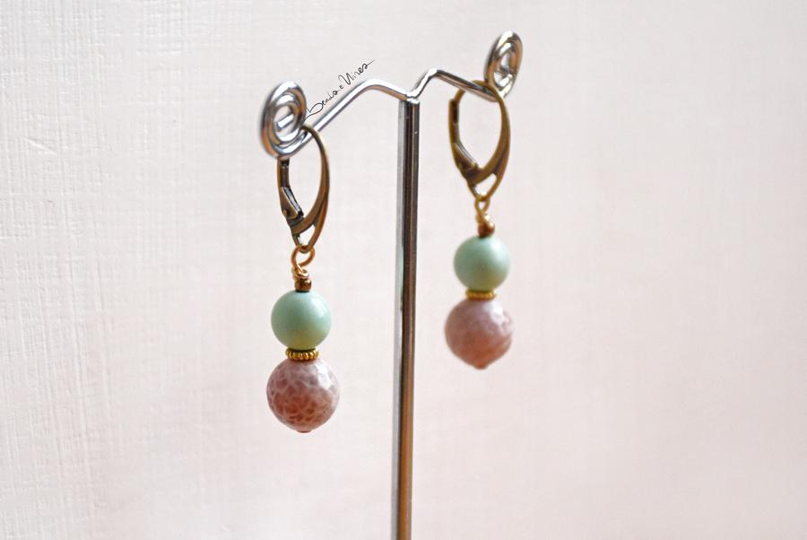 abbastanza Orecchini corti rosa e verde | Beads and Wires DH63