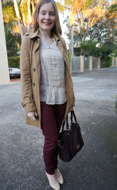 Away From Blue | Maroon Queenslander Origin office wear skinny pants polka dot blouse