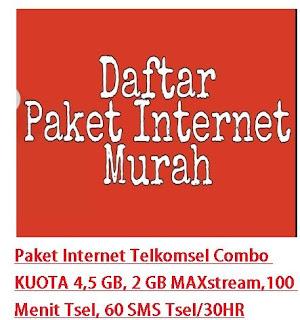 Paket internet Tellkomsel kouota besar harga murah menjadi incaran pengguna internet Paket Internet Telkomsel Combo KUOTA 4,5 GB, 2 GB MAXstream,100 Menit Tsel, 60 SMS Tsel/30HR