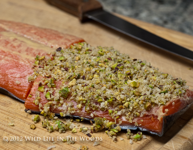 A salmon recipe that is first pan roasted, then finished in the oven. The crust, consisting of simply Dijon mustard and pistachios is perfection.