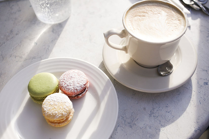 Macarons and a latte at Cafe M in Savannah, Georgia.