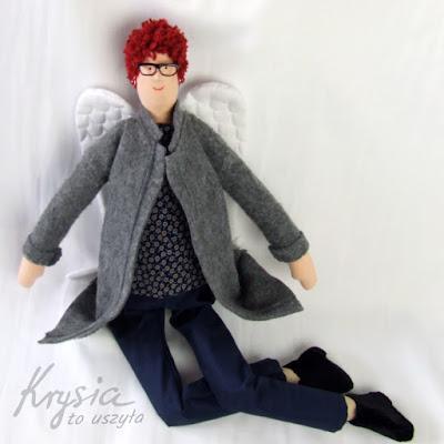 Krysia to uszyła - prezent na 50 urodziny dla niej; szary anioł; rękodzieło artystyczne
