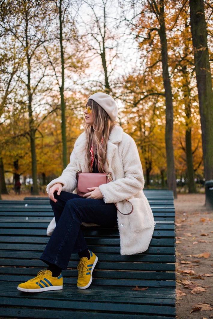 yellow adidas gazelle sneakers, teddy coat, kate spade ny bag, yellow pilot glasses