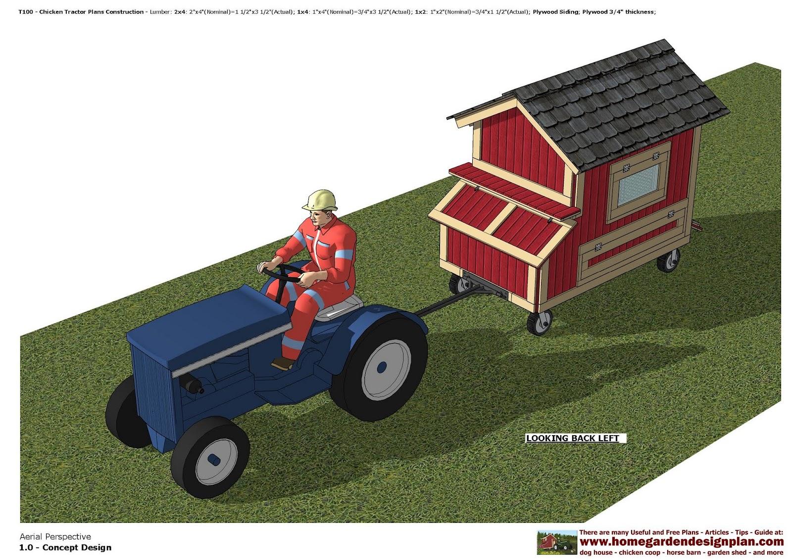 home garden plans T100 Chicken Tractor Plans Construction – Garden Tractor Trailer Plans
