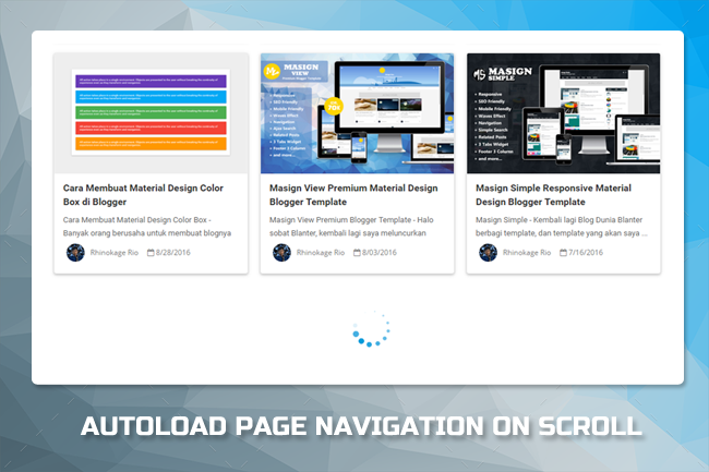 Auto Loading  page navigation on  scroll no Blogger
