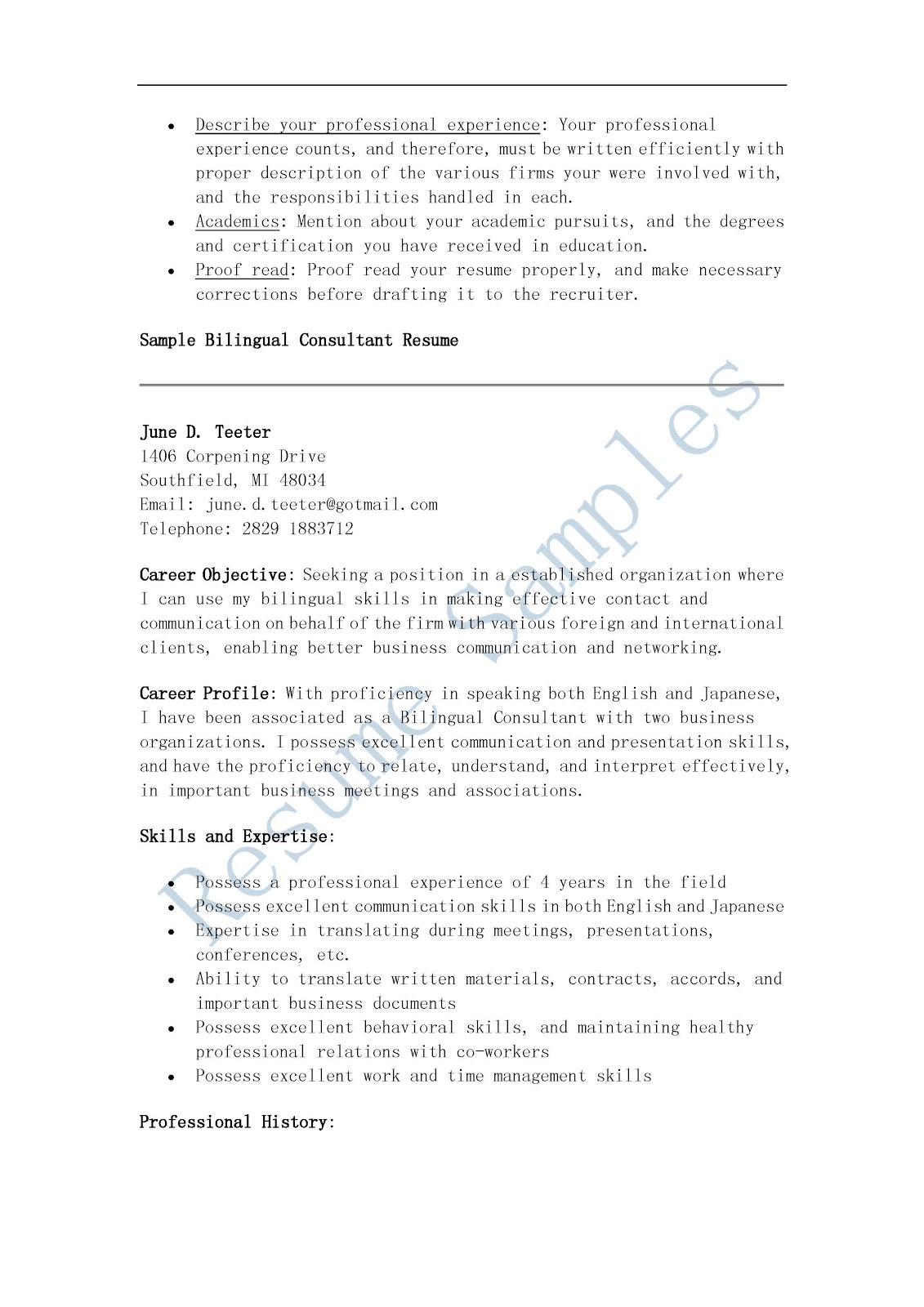 resume samples  bilingual consultant resume