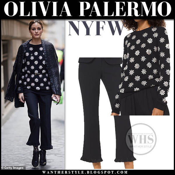 Olivia Palermo wears black crystal floral embellished sweater and black cropped ruffled hem trousers michael kors front row outfit fashion february 2019