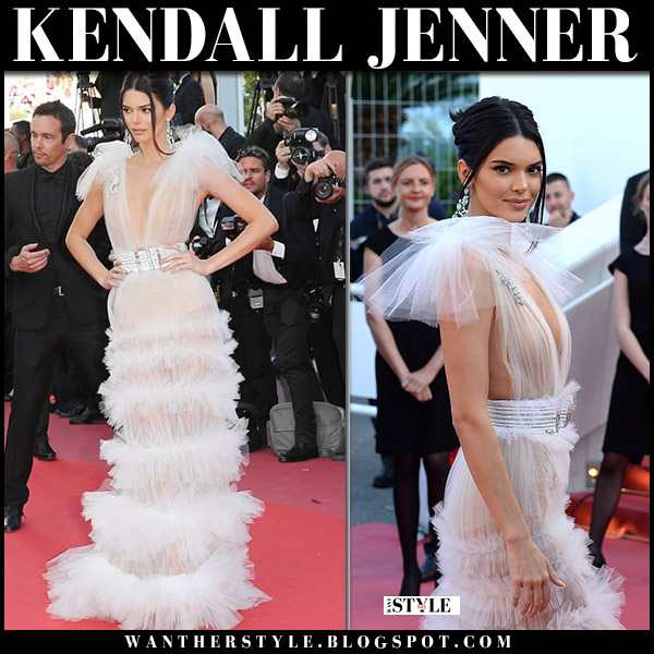Kenall Jenner in sheer white frilled dress alexandre vauthier cannes fashion 2018
