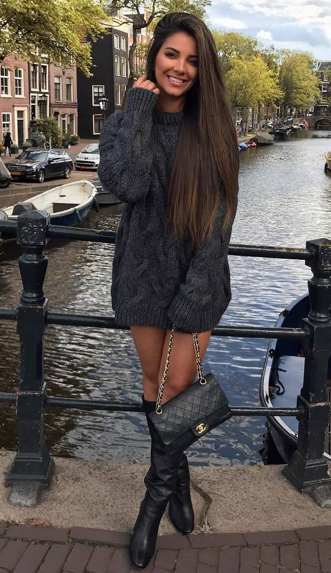fashionable fall outfit / knit sweater dress + bag + boots
