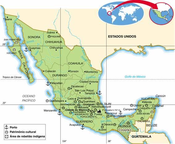 MÉXICO, ASPECTOS GEOGRÁFICOS E SOCIOECONÔMICOS DO MÉXICO
