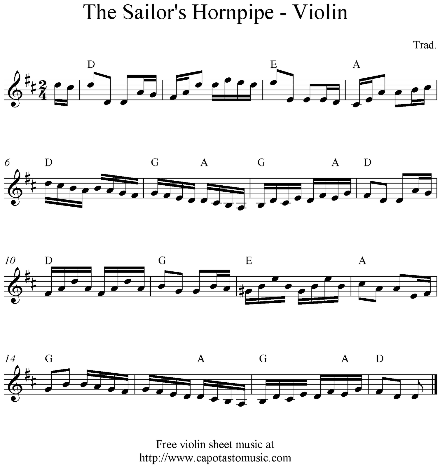 The Sailor's Hornpipe, Free Violin Sheet Mulsic Notes