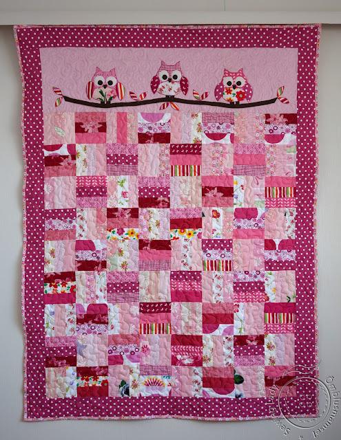 pink patchwork quilt, owl quilt