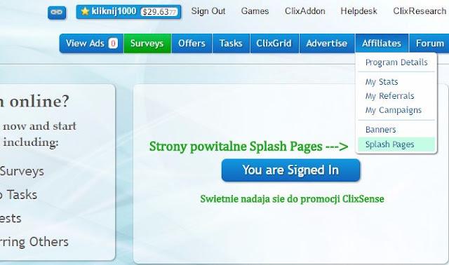 Gdzie w ClicxSense możesz znaleźć strony powitalne Splash Pages?