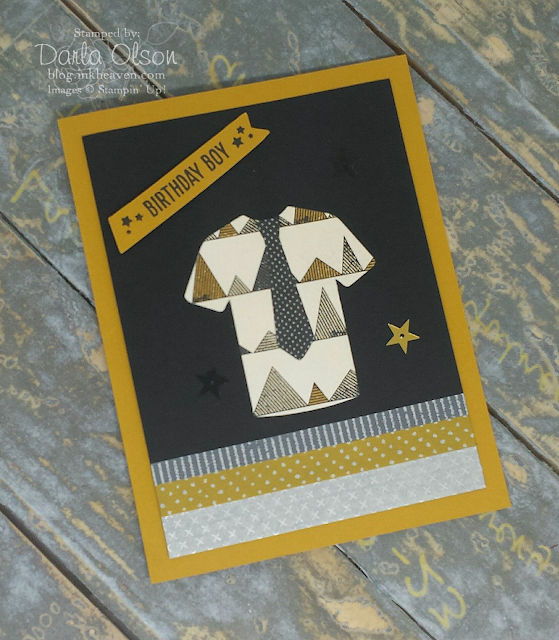 Birthday Boy Card created with Stampin' Up! Custom Tee Bundle and Urban Underground shared by Darla Olson at inkheaven