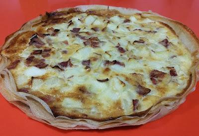 Receta de Tarta de manzana y bacón con queso Idiazábal