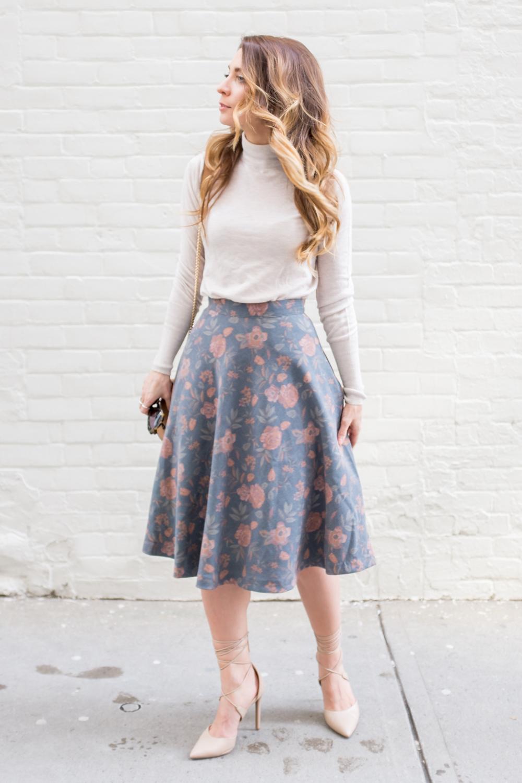643c99954 OOTD - Grey Floral Midi Skirt   La Petite Noob   A Toronto-Based ...
