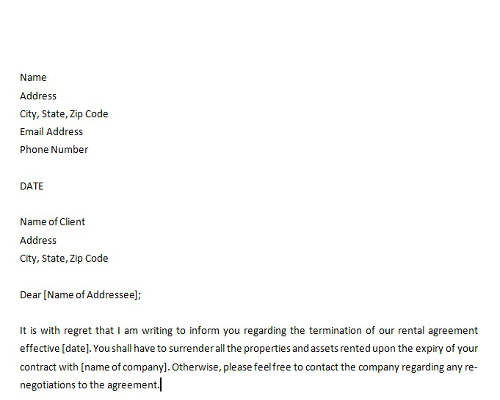 Rental Agreement Termination Letter