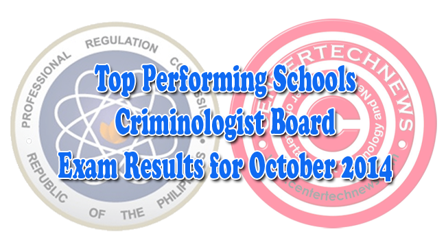Top Performing Schools on Criminology Board Exam Results October 2014