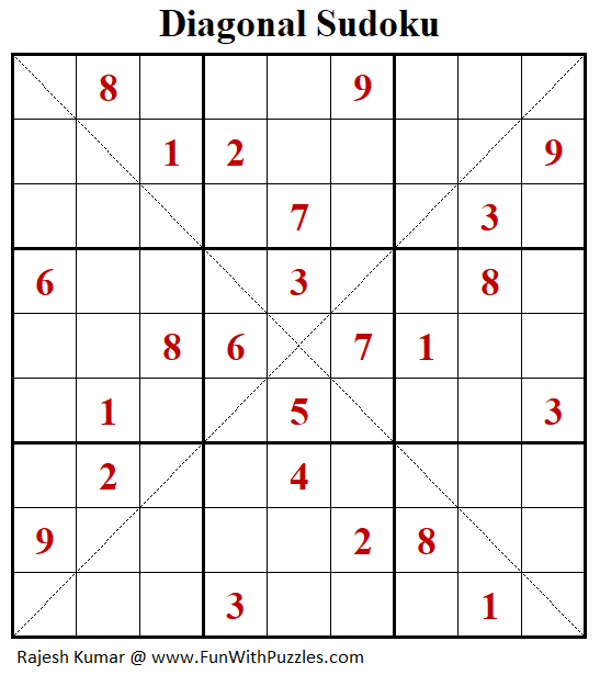 Diagonal Sudoku Puzzle (Fun With Sudoku #267)