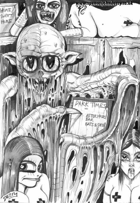 Dark Times • Original Vampire Surreal Macabre Bat Ink Dark Drawing