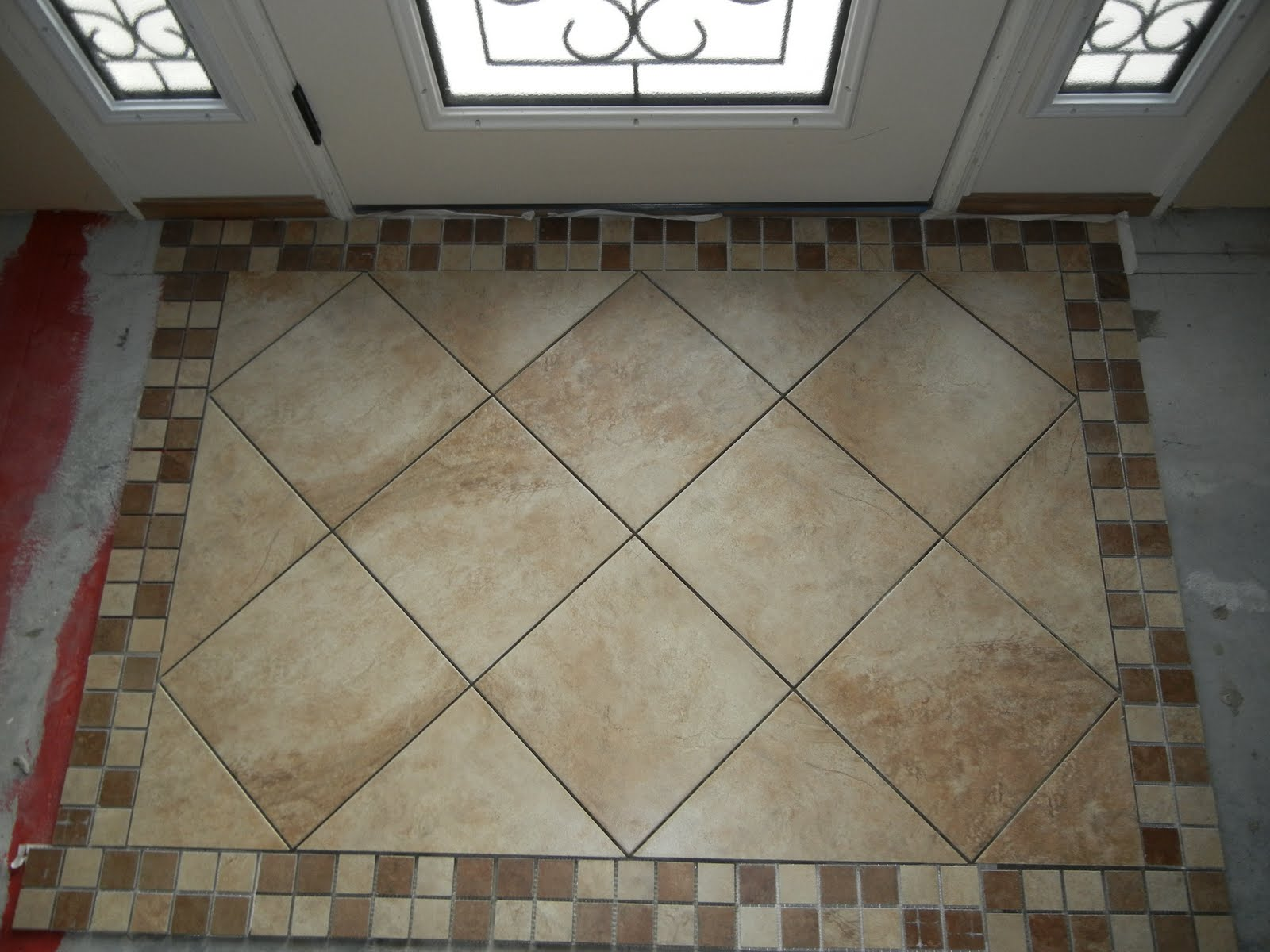 "Double Oak Plantation: Front Door (foyer) Tiled ""Rug"" area"
