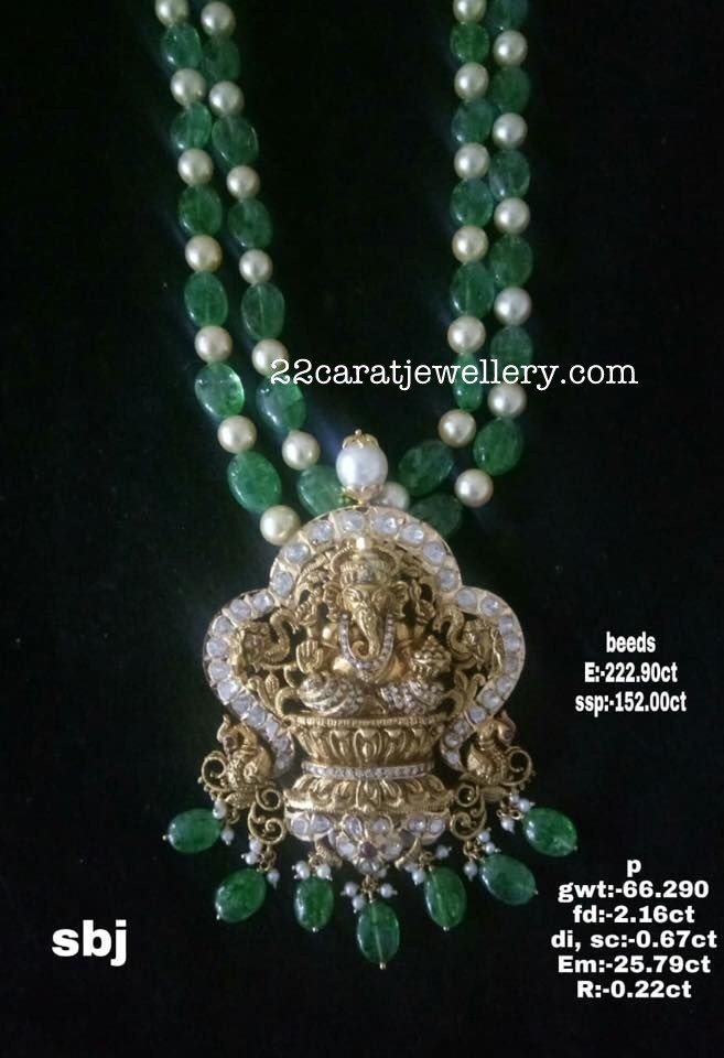 Ganesh Pendant Emerald Beads Chain