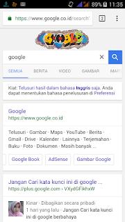 tampilan logo google yang merubah browser