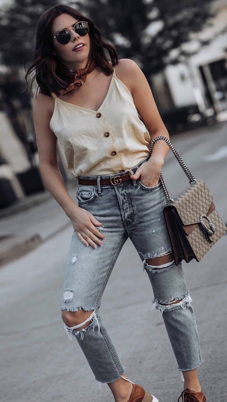cute outfit idea / silk tank top + bag + ripped jeans