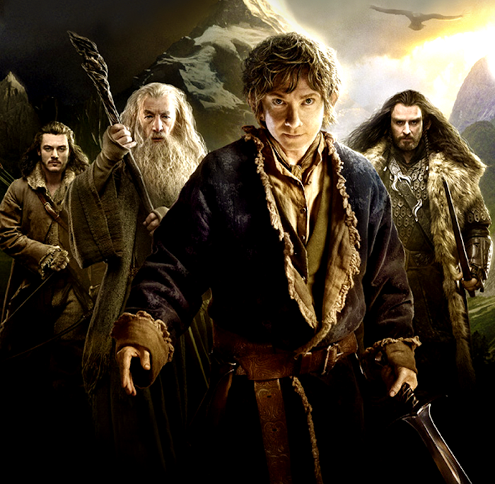 Bard the Bowman, Gandalf, Bilbo Baggins şi Thorin Oakenshield în The Hobbit:The Desolation Of Smaug