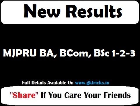 MJPRU BA, BCom, BSc 1-2-3 Result