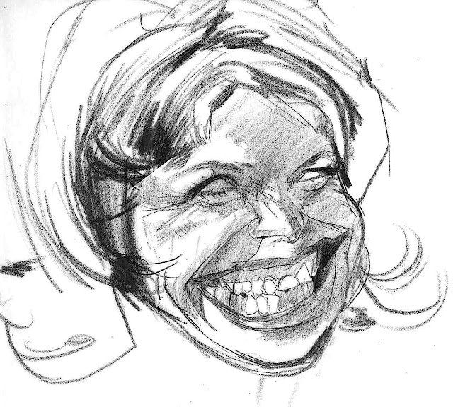 a caricature of Katie Couric by Thomas Fluharty
