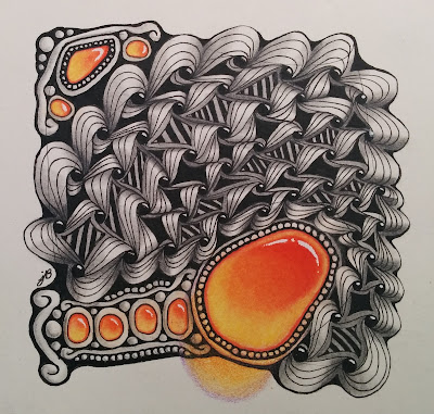 abstract black and white ink drawing with orange colored pencil gems using zentangle, tangle, nebel