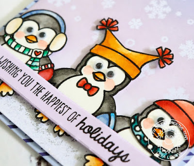 Sunny Studio Stamps: Bundled Up Penguin Holiday Card by Lexa Levana (with a sentiment from Gleeful Reindeer)