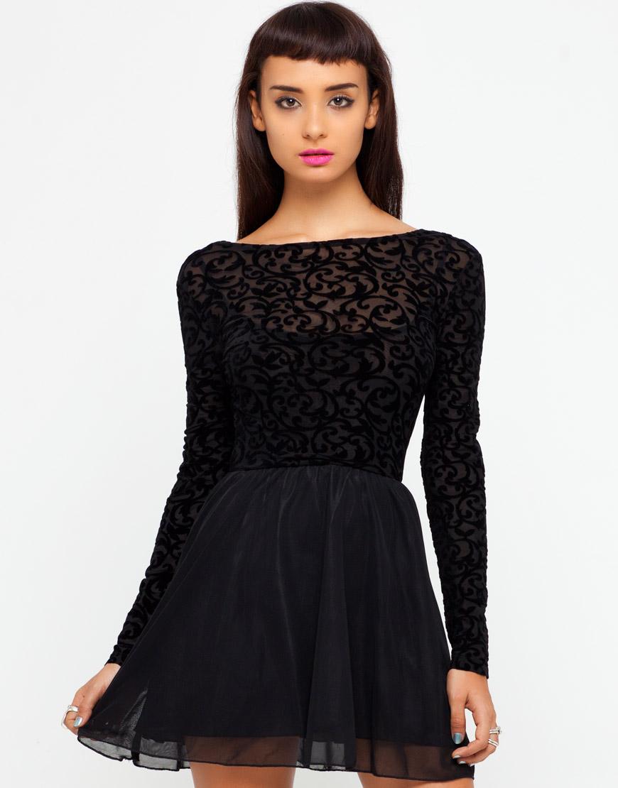 Motel Rocks Black Velvet Dress
