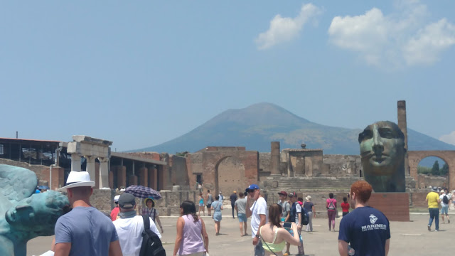 the central square of Pompeii- with the criminal Vesuvius in the background