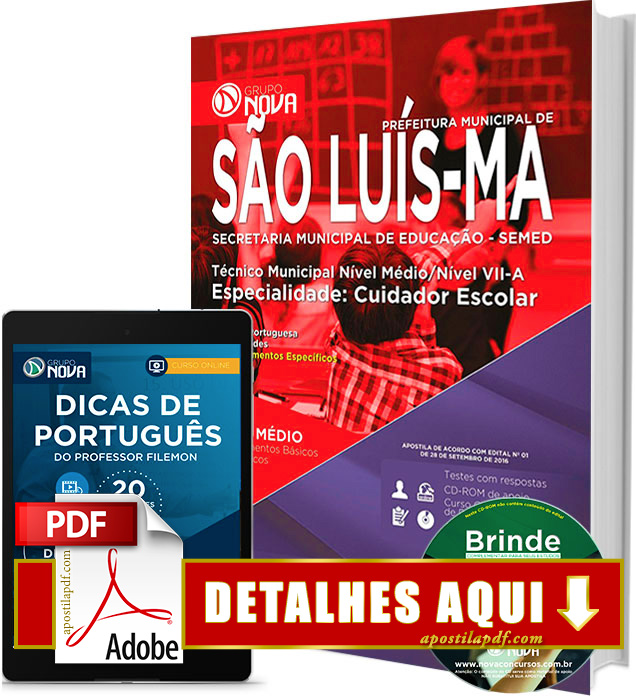 Apostila SEMED 2016 São Luís Cuidador Escolar Impressa