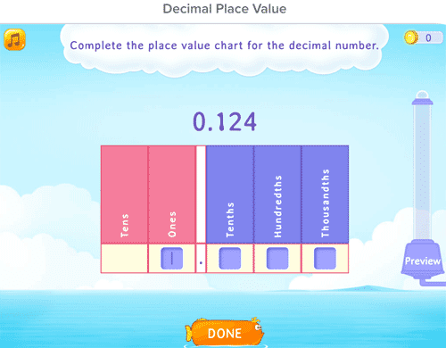 Decimal place value games