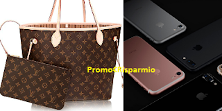 Logo Invita 3 amici e vinci gratis borsa Louis Vuitton o Iphone Apple
